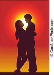 a happy couple holding each other, silhouette, vector illustration