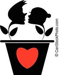 Loving couple and heart silhouette