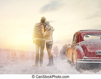 loving couple and vintage car - Toward adventure! Happy...