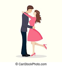 Loving couple are kissing