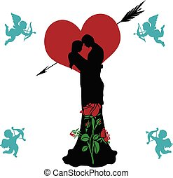Loving couple beautifully decorated (rose and heart), collage for Valentines day, silhouette on white background with flying angels,