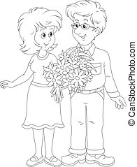 Black and white vector illustration of a smiling young man and a young woman holding a bouquet of flowers