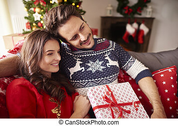 Loving couple during the Christmas time