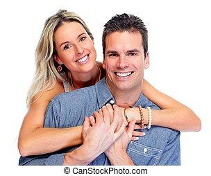 Happy Loving couple isolated over white background.