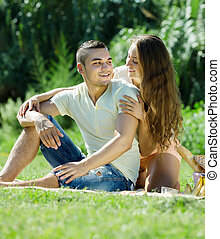 loving couple having picnic