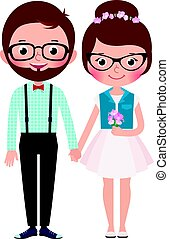 Loving couple hipsters bride and groom