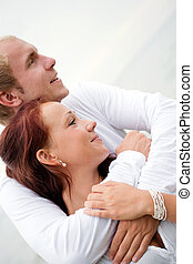 Loving couple holding each other