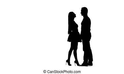 Loving couple hugs. White background. Silhouette