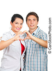 Loving couple in a hug  forming heart
