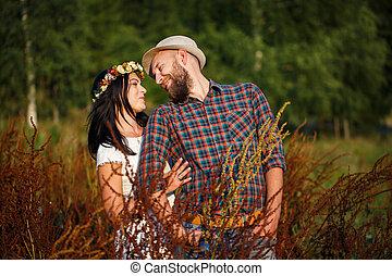 loving couple in field
