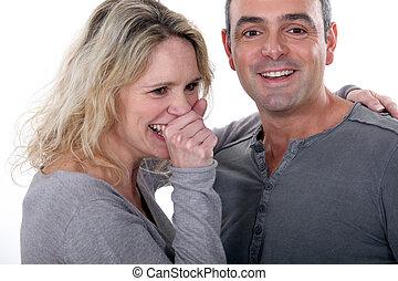 Loving couple in grey