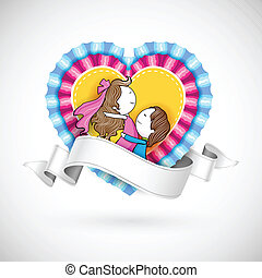 Loving Couple in Heart - illustration of loving couple on...