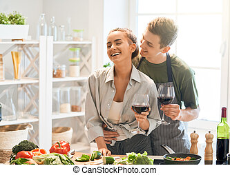 loving couple in the kitchen