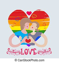 loving couple kissing pair of boys gay on heart in rainbow color