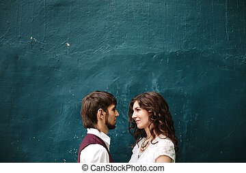 Loving couple looking at each other