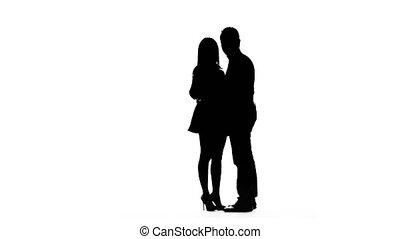 Loving couple makes selfie. Silhouette. White background -...