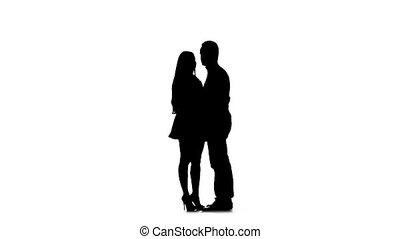 Loving couple makes selfie. Silhouette. White background. Slow motion
