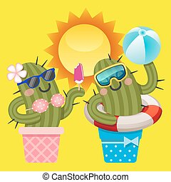 loving couple of cactus with summer theme