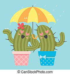 loving couple of cactus with umbrella - the loving couple of...