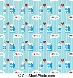 milk bottle and milk carton seamless pattern