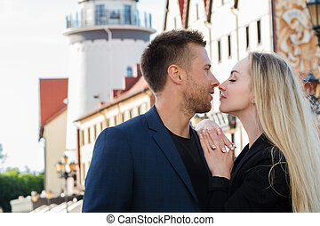 Loving couple on a background of romantic old European city