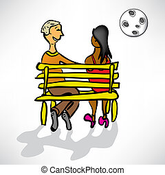 loving couple on a date on a bench