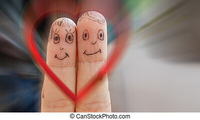 Loving couple on a dynamic background of the heart