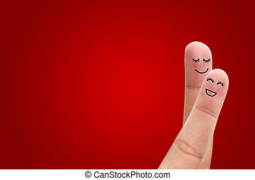 Loving couple on red background