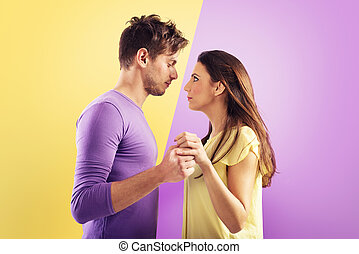 Loving couple ready to kiss each other