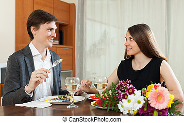 Loving couple romantic dinner