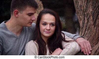 loving couple standing in gazebo