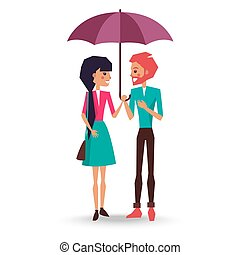 Loving Couple Stands under Umbrella Illustration