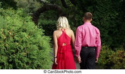 loving couple walking