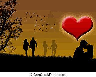 loving couples on the city park - silhouette of a loving...