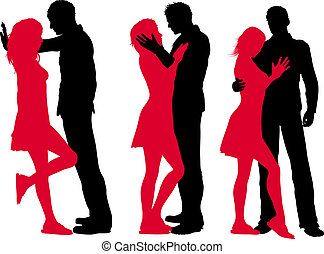 Loving couples - Silhouettes of loving couples