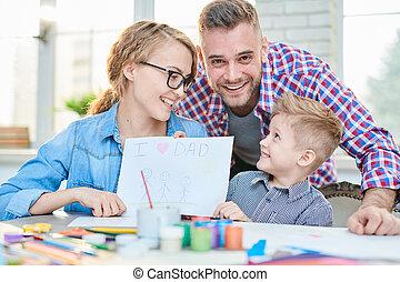 Loving Family Celebrating Fathers Day