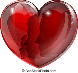 Loving family heart concept. A heart shaped symbol with man,...