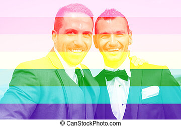 loving gay male couple on their wedding day.