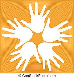 Loving hands design. - Loving hands design with a textured...