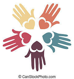 Loving hands design.  - Loving hands design in five colors.