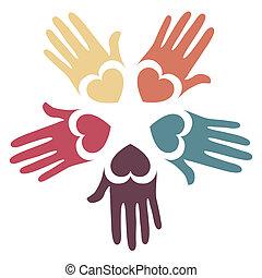 Loving hands design in five colors.