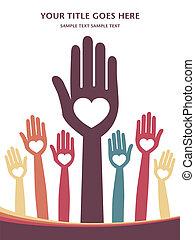 Loving hands design. - Loving hands design with copy space.