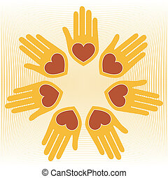 Loving hands vector.