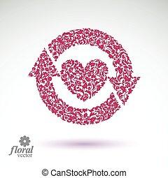 Loving heart floral illustration