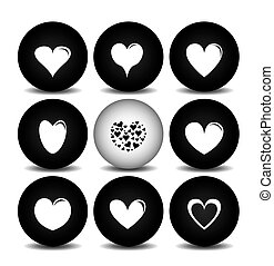 Loving hearts simple icon set