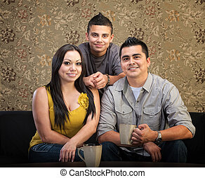 Loving Hispanic Family
