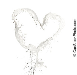 Loving milk - Heart symbol made of milk splashes, isolated...