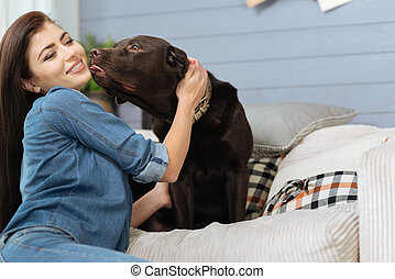 Loving mistress and her pet having an emotional connection