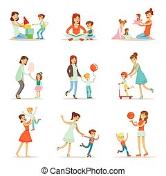 Loving Mother Playing And Enjoying Good Quality Mommy Time With Their Happy Children Set Of Cartoon Illustrations