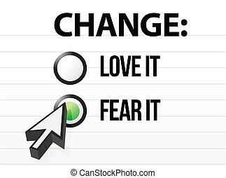 loving or fearing change illustration design over a white...